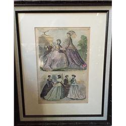 1866 Hand-colored Engraving, Paris Fashions