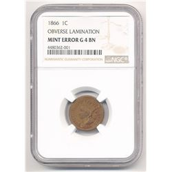 1866 1C INDIAN CENT OBVERSE LAMINATION NGC MINT ERROR G4 BN ML1