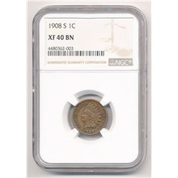 1908-S 1C INDIAN CENT RARE DATE NGC XF 40 BN ML1