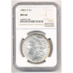 1883-O $1 MORGAN SILVER DOLLAR NGC MS 64 ML1