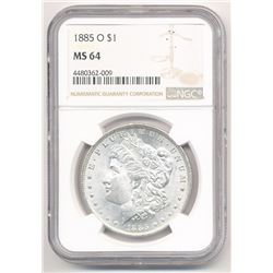1885-O $1 MORGAN SILVER DOLLAR NGC MS 64 ML1