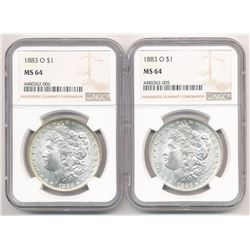 RARE!!!!     LOT OF (2) WITH DIE BREAK 1883-O $1 MORGAN SILVER DOLLAR NGC MS 64 ML1