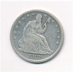 1867-S SEATED LIBERTY 50C RARE MINT ERROR - STRUCK THROUGH ML1