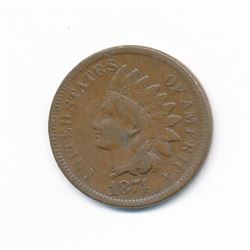 1874 1C INDIAN CENT RARE MINT ERROR ML1