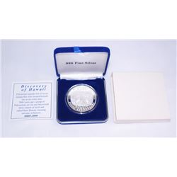 2000TH ANNIVERSARY DISCOVERY OF HAWAII 1 OZ .999 FINE SILVER ROUND WITH BOX & COA