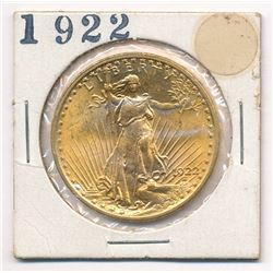 1922 MS 63 OR POSSIBLY HIGHER $20.00 GOLD SAINT GAUDENS