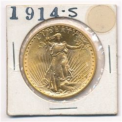 1914-S MS 66+ OR POSSIBLY HIGHER $20.00 GOLD SAINT GAUDENS