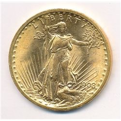 1908 MS 65 OR POSSIBLY HIGHER $20.00 GOLD SAINT GAUDENS