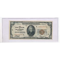 1929 $20 US NATIONAL CURRENCY SAN FRANCISCO BROWN SEAL FEDERAL RESERVE NOTE