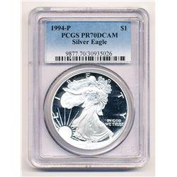 1994-P PROOF AMERICAN SILVER EAGLE PCGS PR 70 DCAM