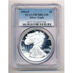 1994-P AMERICAN SILVER EAGLE PROOF PCGS PR 70 DCAM