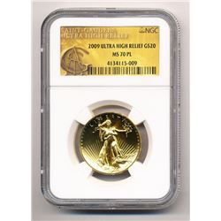 2009 $20 ULTRA HIGH RELIEF GOLD SAINT-GAUDENS DOUBLE EAGLE NGC MS 70 PL