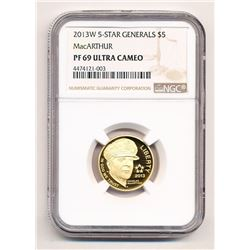 2013-W $5 US COMMEMORATIVE GOLD 5-STAR GENERALS MACARTHUR NGC PF 69 ULTRA CAMEO