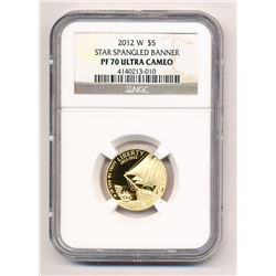 2012-W $5 STAR SPANGLED BANNER GOLD COMMEMORATIVE NGC PF 70 ULTRA CAMEO