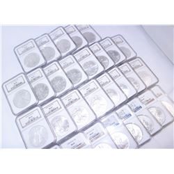 HUGE LOT OF (29) AMERICAN SILVER EAGLES 1986-2014 ALL GRADED BY NGC MS 69 WINNER TAKES ALL!!