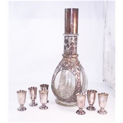 RARE 950 Silver Decanter Bottle Set Fine Silver