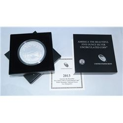 2013-P AMERICA THE BEAUTIFUL 5 OZ SILVER UNCIRCULATED COIN WHITE MOUNTAIN NATIONAL FOREST, NH OGP
