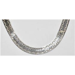 18.5 inch Sterling Silver Herringbone Snake Pattern Engrave