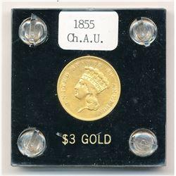 RARE 1855 $3 GOLD COIN INDIAN PRINCESS AU