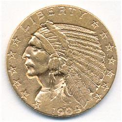 "1909-D $5 INDIAN HEAD GOLD RARE WEAK ""D"" ALMOST MINT"
