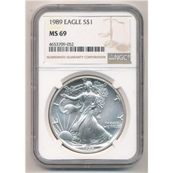 1989 AMERICAN SILVER EAGLE RARE DATE NGC MS 69