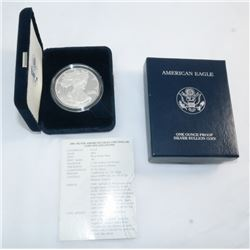 2001 US MINT PROOF AMERICAN SILVER EAGLE WITH BOX & PAPER OGP