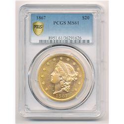 ***RARE*** 1867 $20.00 GOLD LIBERTY HEAD PCGS MS 61 LOOKS PROOF-LIKE!!