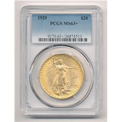 1920 $20.00 GOLD SAINT GAUDENS PCGS MS 63+