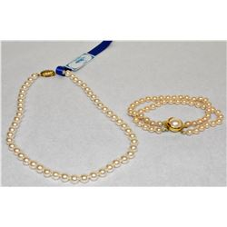 """16"""" ELEGANT CHOKER 6-7MM PEARL NECKLACE AND 7"""" PEARL DOUBLE BRACELET SET"""