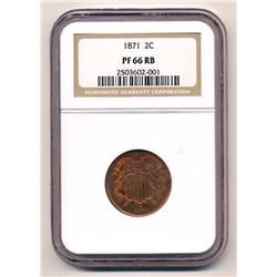 RARE 1871 TWO-CENT PIECE NGC PF 66 RB 2C