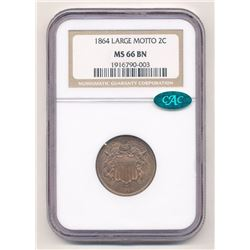 RARE 1864 TWO-CENT PIECE NGC MS 66 BN CAC LARGE MOTTO BROWN LABEL