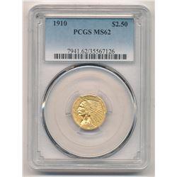 1910 $2.50 Indian Head Gold PCGS MS 62