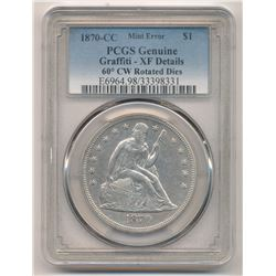 MINT ERROR!! 1870-CC Seated Liberty Silver Dollar PCGS Carson City Graffiti - XF Details 60° CW Rot