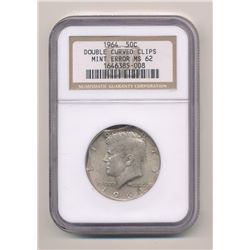 ***SUPER RARE MINT ERROR*** 1964 JFK KENNEDY SILVER HALF DOLLAR NGC MS 62 DOUBLE CURVED CLIPS