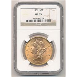 1901 $20.00 Liberty Head Gold NGC MS 65