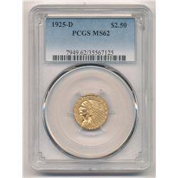 1925-D $2.50 Indian Head Gold PCGS MS 62
