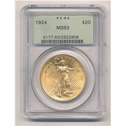 1924 PCGS MS63 Old Green Holder $20 Saint Gauden's