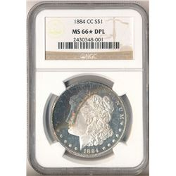 *UNIQUE RAINBOW TONING* 1884 NGC CARSON CITY MORGAN SILVER DOLLAR MS66? DEEP MIRROR PROOF LIKE!