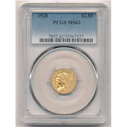1928 $2.50 Indian Head Gold PCGS MS 62