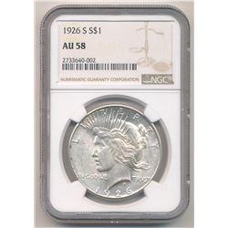 1926 S NGC AU58 Peace Dollar