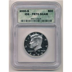 2000-S ICG PR70 DCAM Kennedy Half Dollar