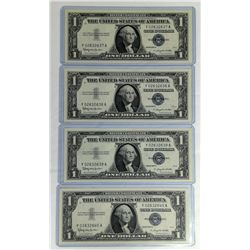 1957B $1 Silver Certificate Choice Gem Consecutive Serial Numbers (4 count)