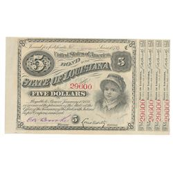 1876 Louisiana 5 Dollar Baby Bond with Coupons