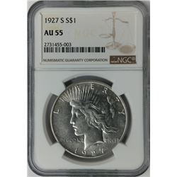 1927 S S$1 Liberty Peace Dollar AU 55 NGC