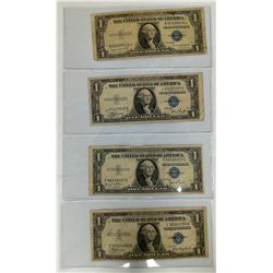 1935 (4) $1 Silver Certificate Circulated (Series A, C, D, G)