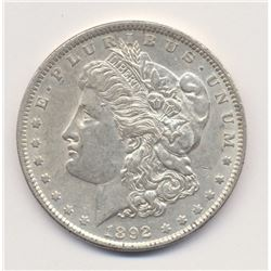 1892-P Morgan Silver Dollar Strong Original AU Lusters