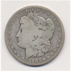1893-CC Carson City Morgan Silver Dollar Very Good Quality