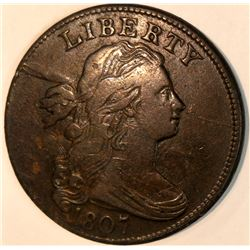 1807 LARGE CENT LOVELY COIN HIGH GRADE EXAMPLE OF DRAPED BUST CENT