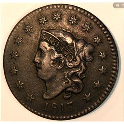 FIFTEEN-STARS 1817 Coronet Head Large Cent (Almost Uncirculated Condition)