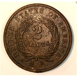 1864 2-CENT PIECE Almost Uncirculated Condition